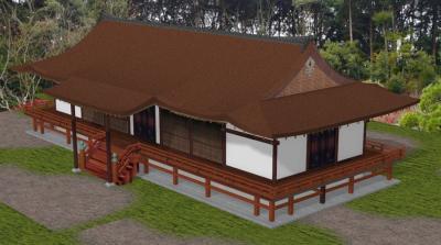 宇治上神社拝殿斜めパース図