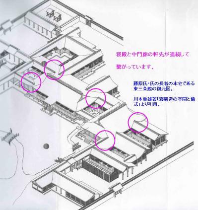 連続する屋根(東三条殿)