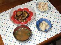 4/11 夕食 豚肉とナスのオイスター炒め、こんにゃくの白和え、しじみ味噌汁(インスタント)