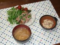 6/7 夕食 アスパラの豚肉巻、こんにゃくの白和え、もやしの味噌汁