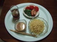 6/10 昼食 つけ麺、アスパラ、トマト、チャーシュー