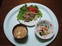 6/10 夕食 豚肉の焼肉、ブロッコリーのサラダ、豆腐とエノキの味噌汁