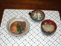 6/13 夕食 蓮根ひろうすの煮物、ほうれん草の白和え、イワシのつみれ汁