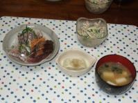 6/17 夕食 鰹と鯵の刺身、枝豆豆腐、ごぼうサラダ、ネギとわかめの味噌汁
