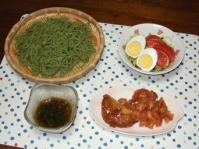 6/23 夕食 茶そば、海老揚げ、白身魚と蓮根あげ、サラダ