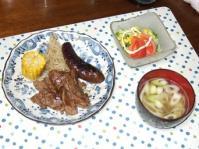 7/15 夕食 牛焼肉、サラダ、いわしのつみれ汁
