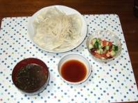 7/20 夕食 冷し水餃子、お豆のサラダ、もずくスープ