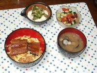 7/22 夕食 鰻丼、冷奴、お豆のサラダ、シジミの味噌汁