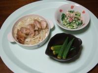 7/24 夕食 鶏の塩麹蒸し、オクラの煮びたし、ブロッコリーとトマトのサラダ