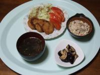 7/26 夕食 レンジとんかつ、こんにゃくの白和え、なすの塩麹漬、もずくスープ