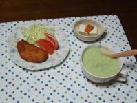 7/29 夕食 甘辛ささみカツ、ブロッコリーと玉ねぎのスープ、ウニ豆腐