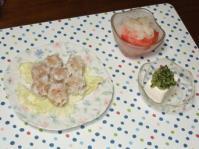 7/31 夕食 カニシュウマイ、冷奴、トマトと玉ねぎのサラダ