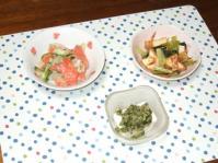8/8 夕食 厚揚げと小松菜の桜えび炒め、サーモンマリネサラダ、冷奴