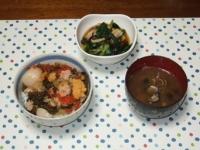 1/14 夕食 北海七宝漬丼、しめじと小松菜の煮びたし、シジミの味噌汁
