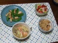 1/16 夕食 イカとスナップえんどうのにんにく炒め、水菜のサラダ、野菜スープ、中華おこわ