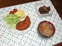 1/29 夕食 甘辛ささみカツ、こんにゃくのピリ辛炒め、白菜と油揚げの味噌汁