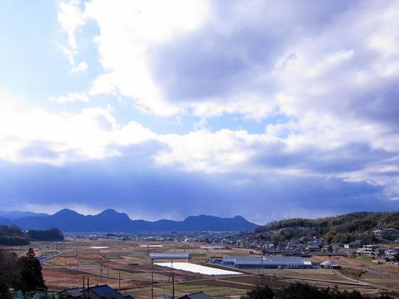 遠く伊豆の山が