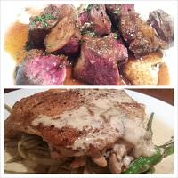 エゴメ牛ランプステーキと鶏のソテーポルチーニソース