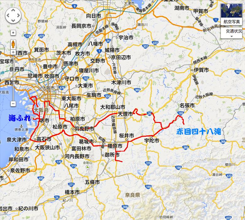 赤目四十八滝行程図