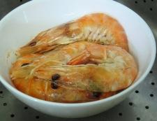 蒸し海老調理②