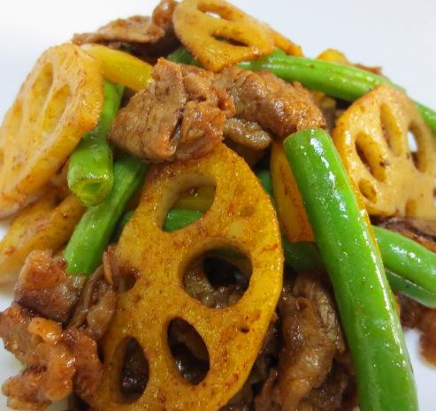 牛肉とレンコンのコチュジャン炒め拡大