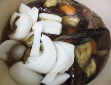 お茄子と牛肉の炊いたん 調理④
