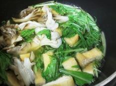 水菜とお揚げの炊いたん 調理
