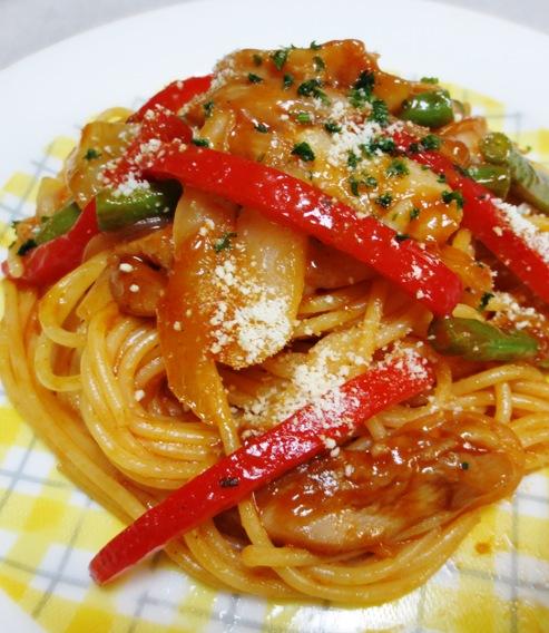 鶏肉と玉ねぎのナポリタン風 スパゲティ仕様