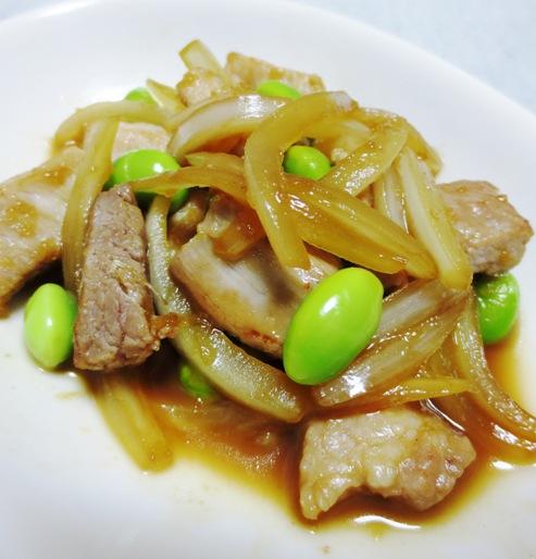 豚肉と枝豆の生姜焼き 大