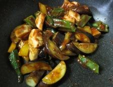 ささみと茄子の甘味噌炒め 調理③