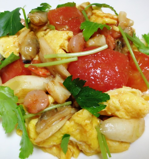 トマトと卵のふわふわ炒め大