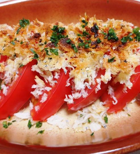 トマトのじゃこチーズパン粉焼き 大