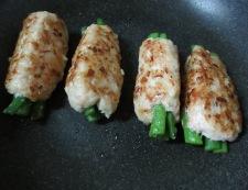 鶏つくねのいんげん巻き 調理①