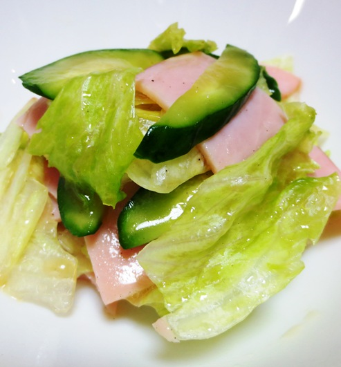 ハムとレタスきゅうりのサラダ 大