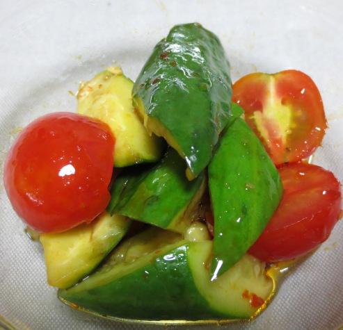 たたききゅうりとトマトのピリ辛和え 大