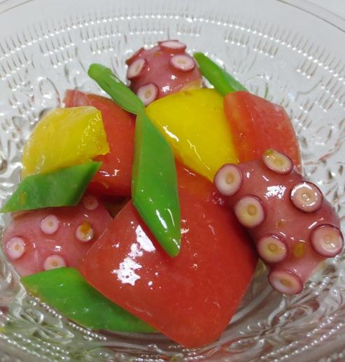 タコとトマトの柚子胡椒ドレッシング和え 大
