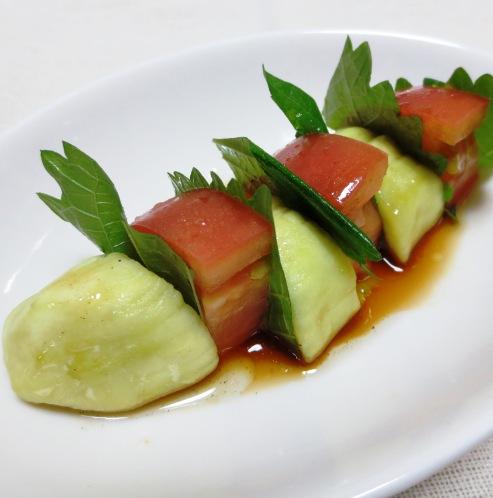 蒸し茄子とトマトのサラダ B