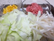味噌ラーメン 材料野菜とひき肉