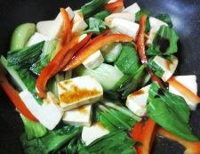 豆腐と青梗菜 調理②