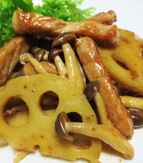 豚肉とれんこん柚子胡椒ポン酢炒め 大