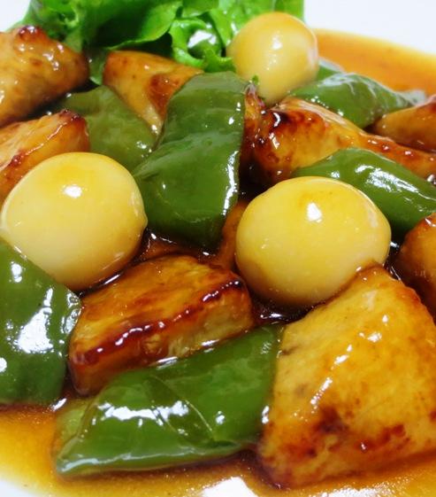 白身魚とうずら卵の甘酢あん B