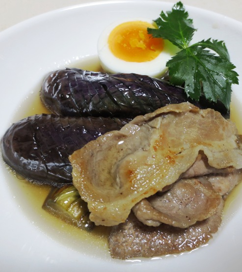 ナスと豚肉の炊いたん ゆで卵添え大