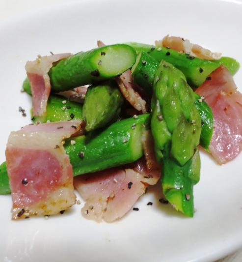 アスパラベーコン黒胡椒炒め 大