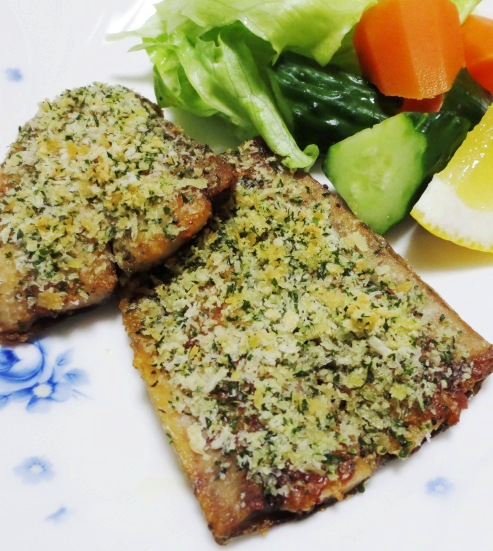 秋刀魚のチーズパン粉焼き 拡大