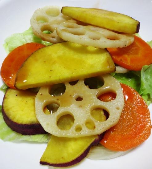 焼き根菜(レンコン、さつまいも、にんじん)のサラダ 大