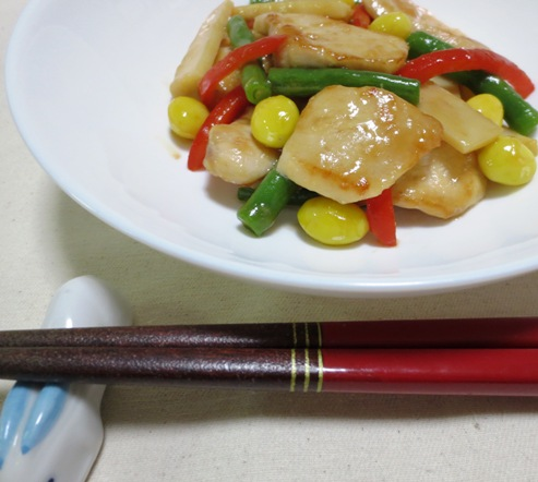 鶏胸肉と銀杏のオイスターソース炒め 拡大