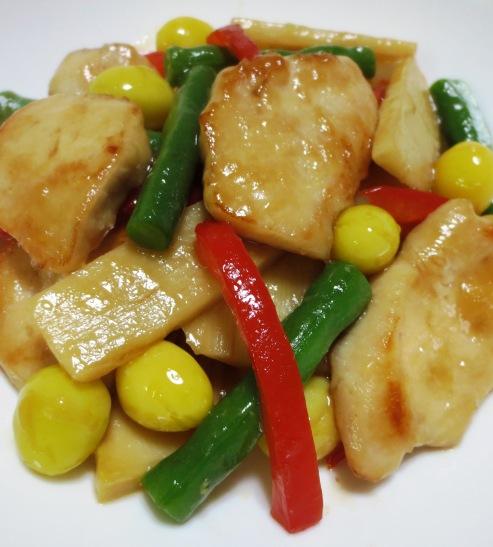 鶏胸肉と銀杏のオイスターソース炒め 大