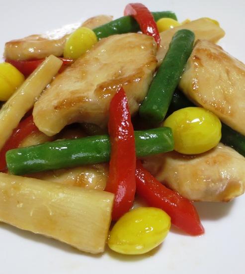 鶏胸肉と銀杏ののオイスターソース炒め B
