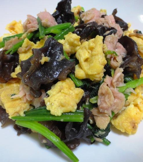 キクラゲとツナの卵炒め 大