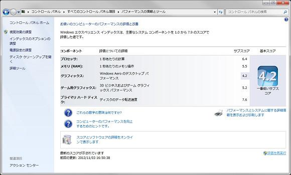 Windowsでのシステムパフォーマンス画面(SSD)